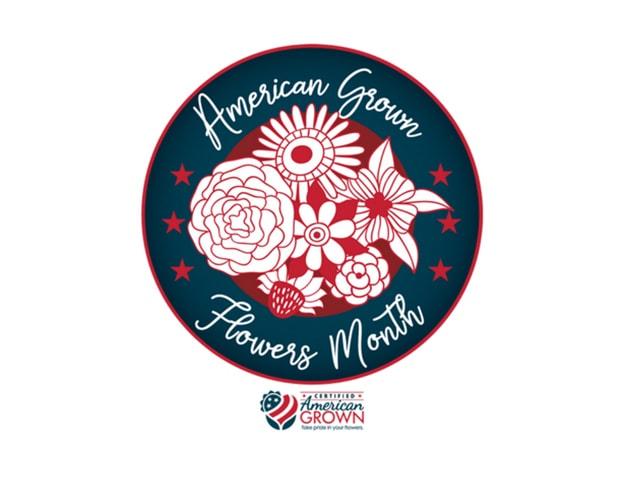 American Grown Flowers Month seal.