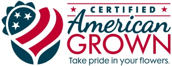Certified American Grown logo. Red, White and Blue with stars and stripes shaped into a heart.