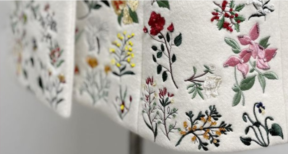 Up close shot of floral embroidered dress.
