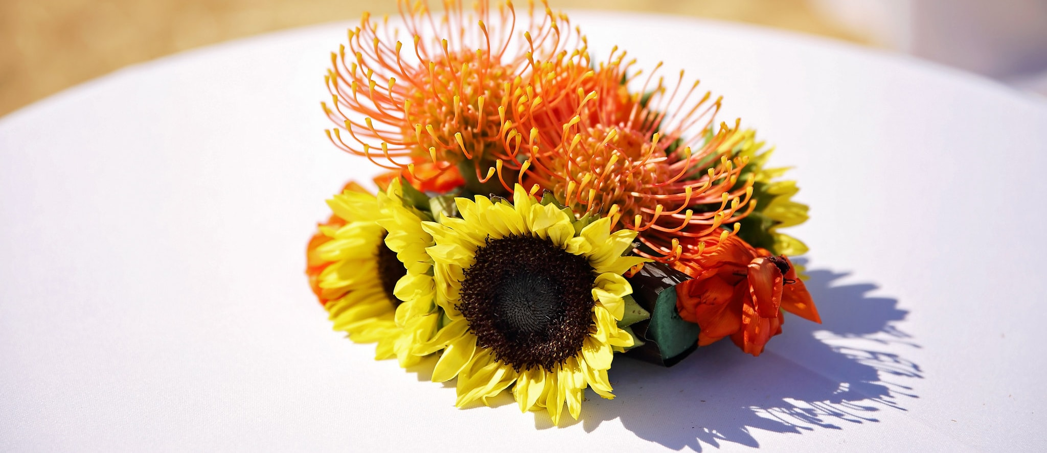 Close up of sunflowers and orange pincushions on a table.