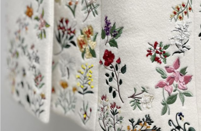 Up close shot of a floral embroidered dress.