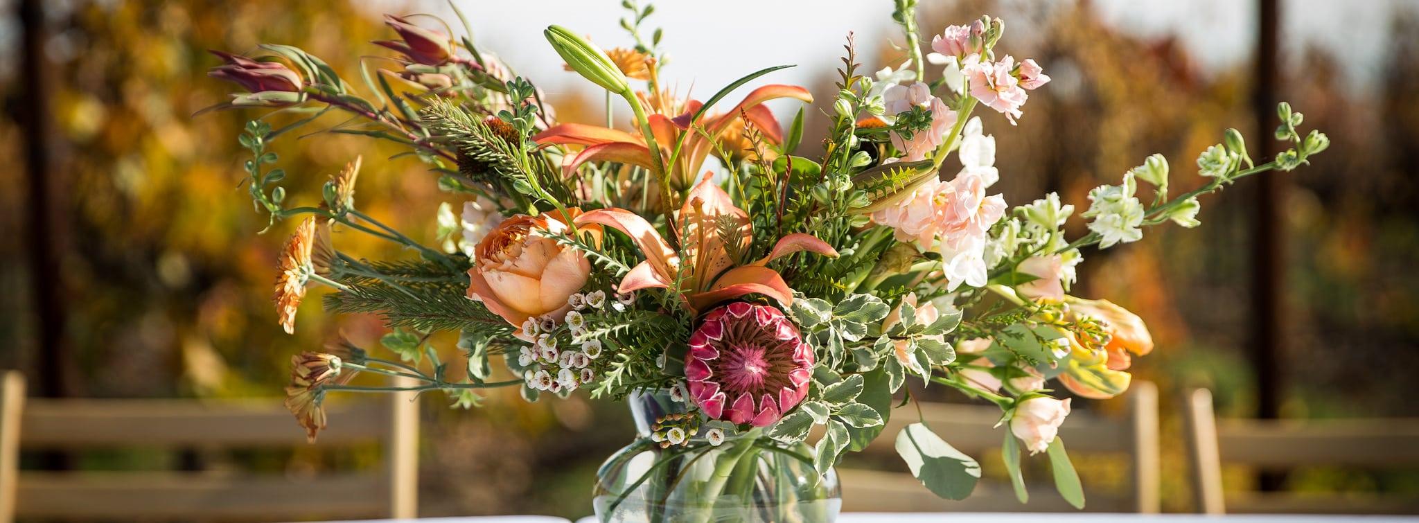Fall colored floral arrangement.