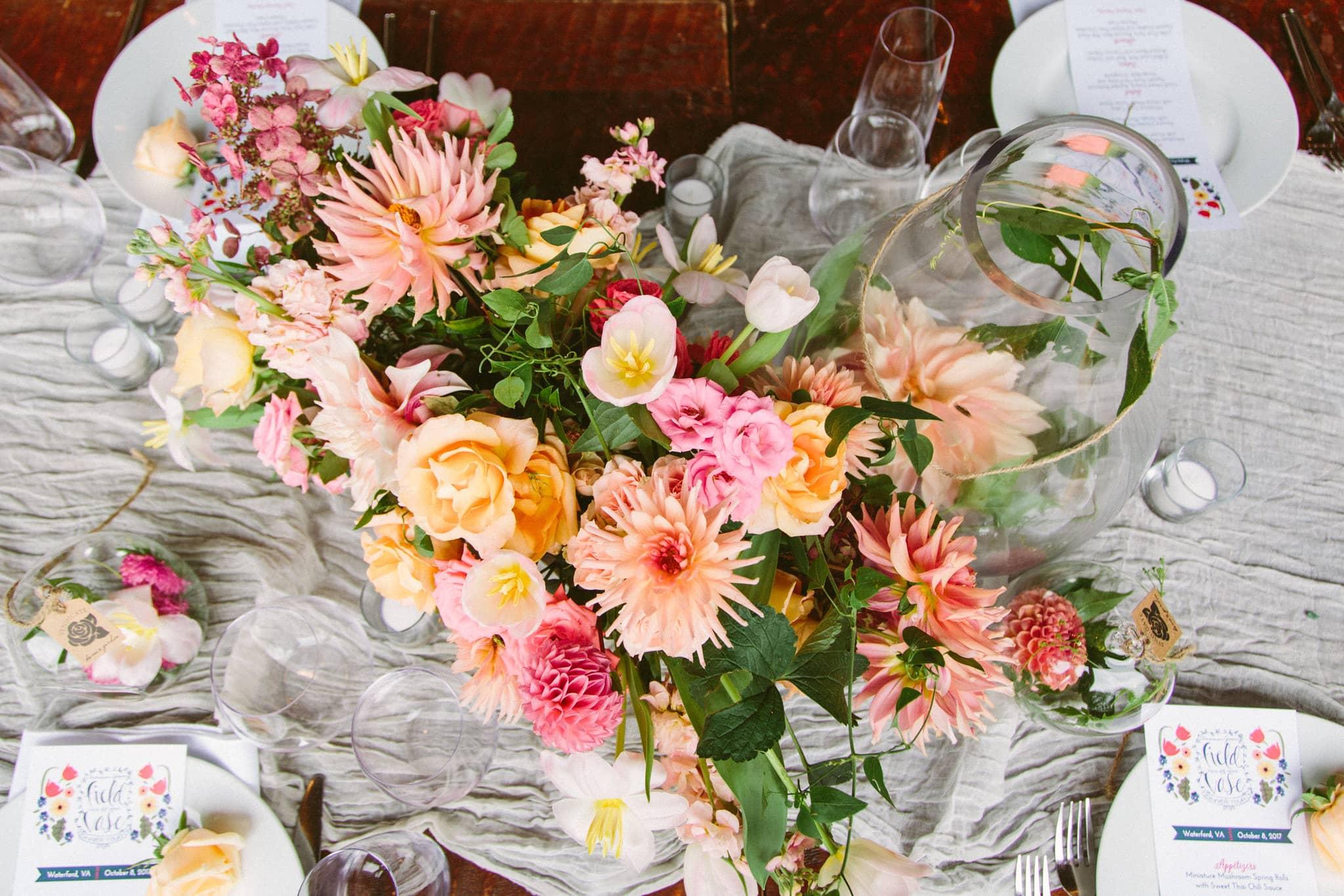 Flower arrangement shot from above.