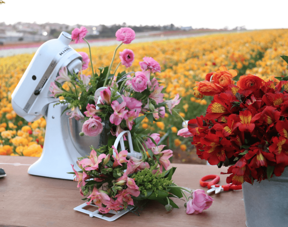Kitchen Aid mixer full of flowers on a table in a flower field.