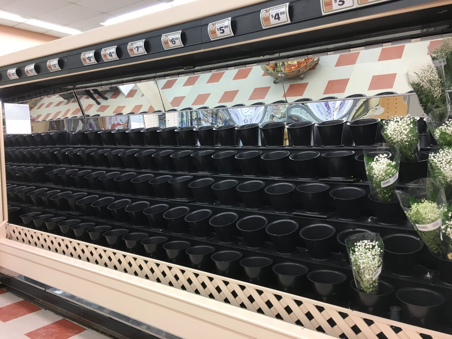 A grocery store floral display that has been emptied out of all the flowers.