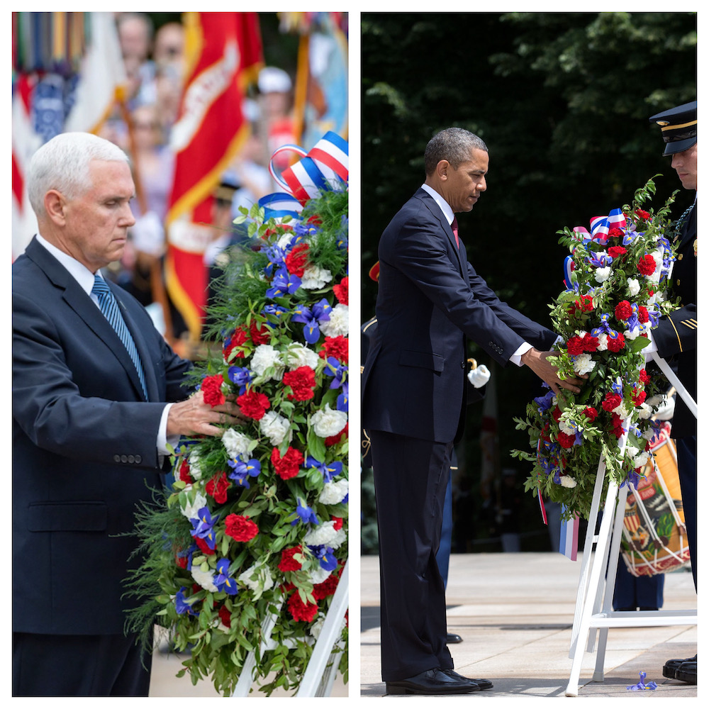 Split picture: one side showing Vice President Pence placing a wreath on a stand; other picture is President Obama placing a wreath on a stand.