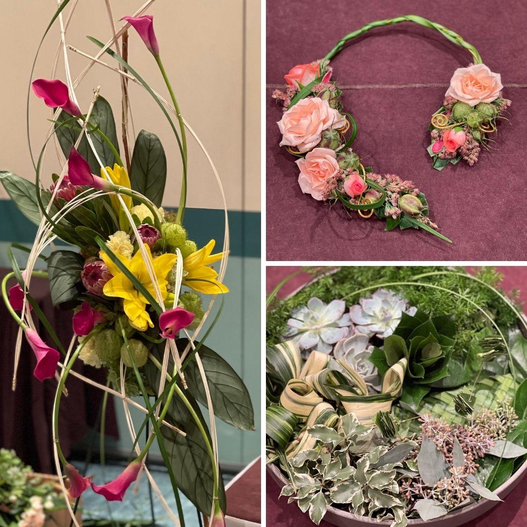 Three floral designs